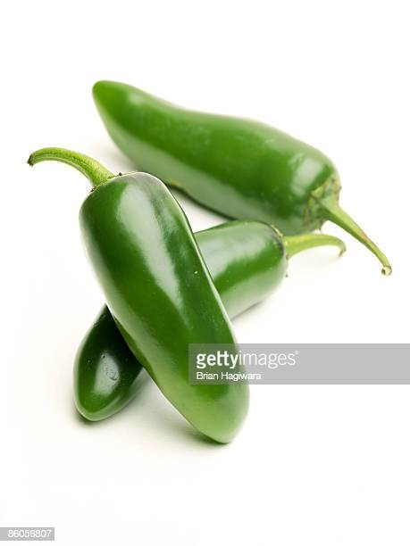 Jalapeno peppers on white