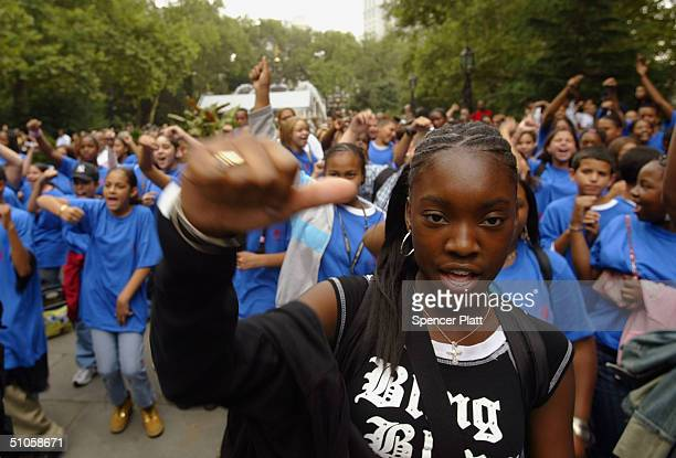 Jaleesha Fortune joins hundreds of other children and teens from New York and Philadelphia participating in a rally July 14 2004 in New York City to...
