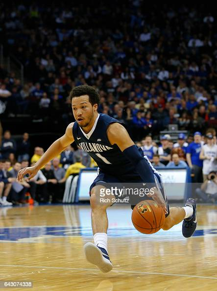 Jalen Brunson of the Villanova Wildcats attempts a shot against the Seton Hall Pirates during an NCAA college basketball game at Prudential Center on...
