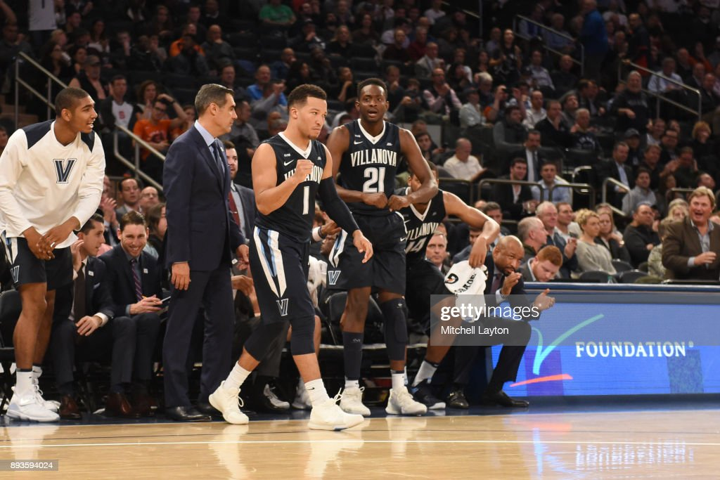 Jalen Brunson #1 of the Villanova Wildcats celebrates a shot during the Jimmy V Classic college basketball game against the Gonzaga Bulldogs at Madison Square Garden on December 5, 2017 in New York City. The Wildcats won 88-72.