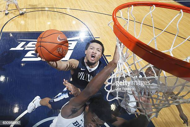 Jalen Brunson of the Villanova Wildcats goes to the basket against the Butler Bulldogs in the second half of the game at Hinkle Fieldhouse on January...