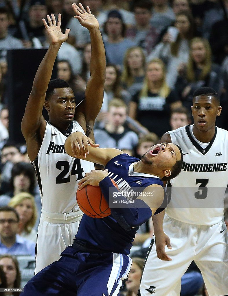 <a gi-track='captionPersonalityLinkClicked' href=/galleries/search?phrase=Jalen+Brunson&family=editorial&specificpeople=11049590 ng-click='$event.stopPropagation()'>Jalen Brunson</a> #1 of the Villanova Wildcats runs into Kyron Cartwright #24 of the Providence Friars in the first half on February 6, 2016 at the Dunkin' Donuts Center in Providence, Rhode Island.