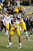 Jalen Collins and Rickey Jefferson of the LSU Tigers celebrate an interception in the second half of their game against the Texas AM Aggies at Kyle...