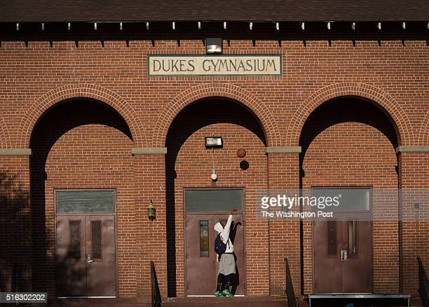 Jalen Griffin kills time before his intermural league game at Dukes gymnasium on campus at South Carolina State University in Orangeburg SC on...