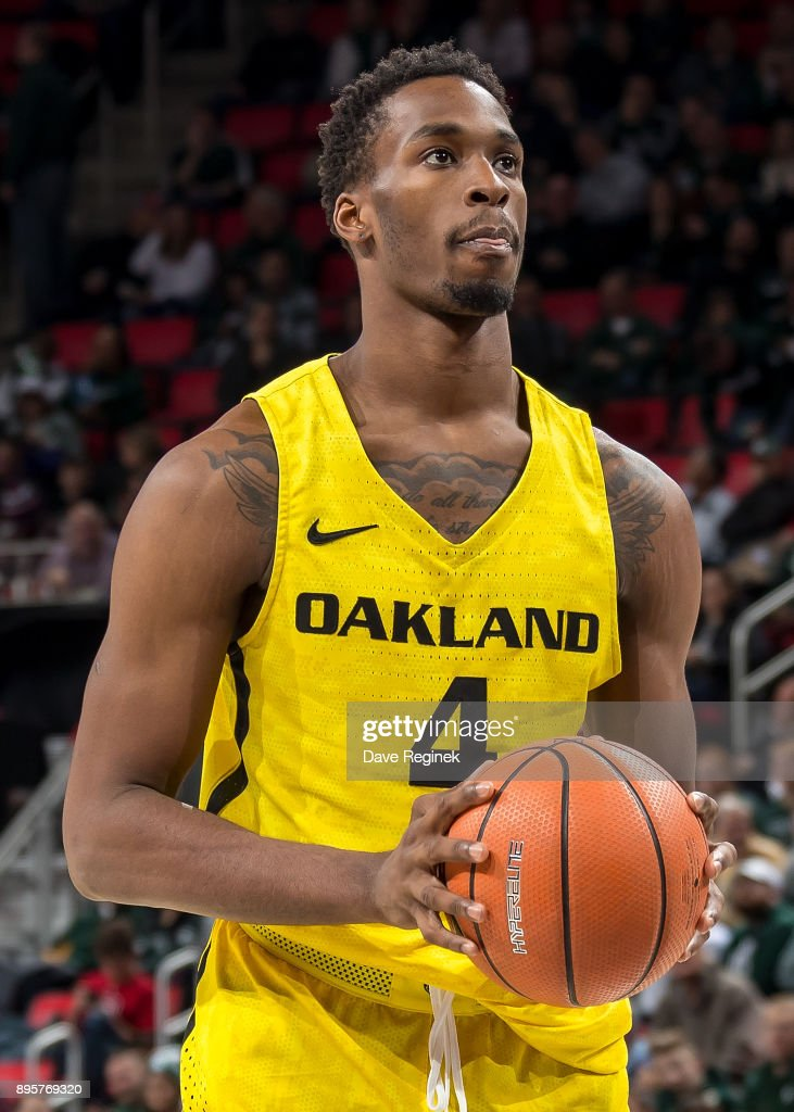 Jalen Hayes #4 of the Oakland Golden Grizzlies gets set for the free throw against the Michigan State Spartans during game two of the Hitachi College Basketball Showcase at Little Caesars Arena on December 16, 2017 in Detroit, Michigan. The Spartans defeated the Grizzles 86-73.