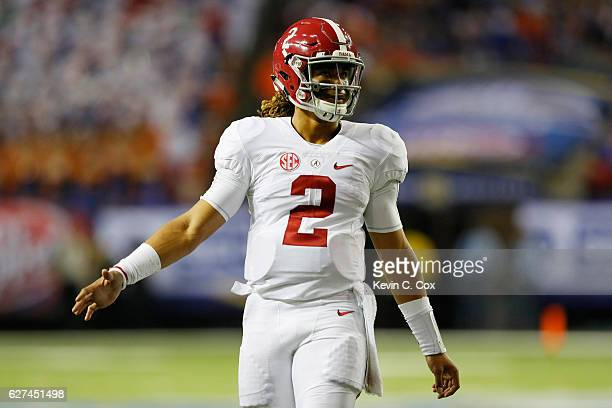 Jalen Hurts of the Alabama Crimson Tide celebrates after Bo Scarbrough scored a third quarter touchdown against the Florida Gators during the SEC...