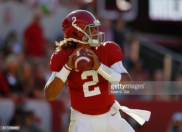 Jalen Hurts of the Alabama Crimson Tide looks to pass against the Texas AM Aggies at BryantDenny Stadium on October 22 2016 in Tuscaloosa Alabama