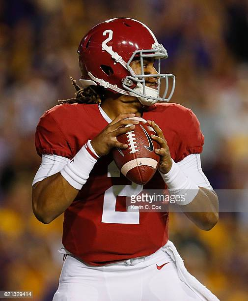 Jalen Hurts of the Alabama Crimson Tide looks to pass against the LSU Tigers at Tiger Stadium on November 5 2016 in Baton Rouge Louisiana
