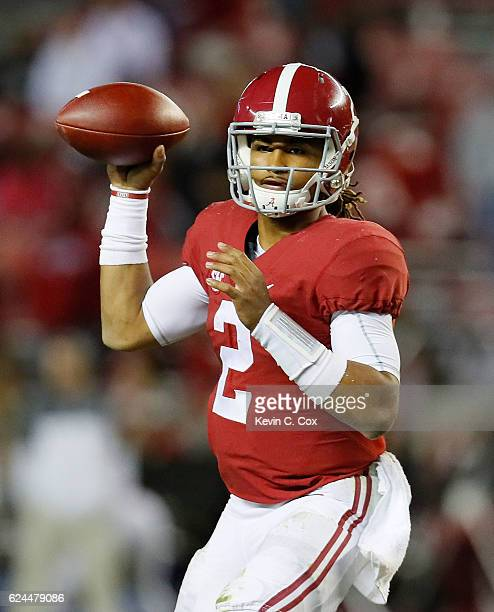 Jalen Hurts of the Alabama Crimson Tide looks to pass against the Chattanooga Mocs at BryantDenny Stadium on November 19 2016 in Tuscaloosa Alabama