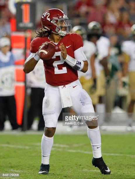 Jalen Hurts of the Alabama Crimson Tide looks to pass against the Colorado State Rams at BryantDenny Stadium on September 16 2017 in Tuscaloosa...