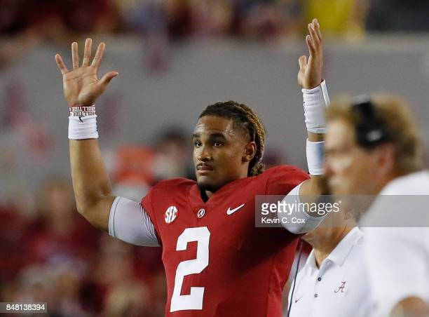 Jalen Hurts of the Alabama Crimson Tide reacts after a field goal in the fourth quarter against the Colorado State Rams at BryantDenny Stadium on...