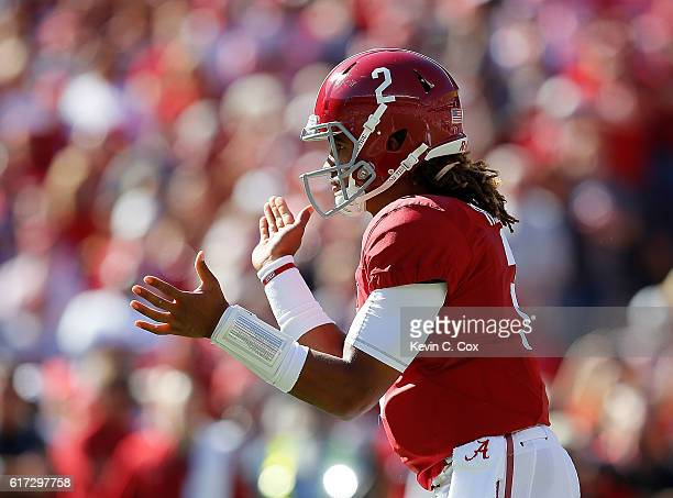 Jalen Hurts of the Alabama Crimson Tide runs the offense against the Texas AM Aggies at BryantDenny Stadium on October 22 2016 in Tuscaloosa Alabama