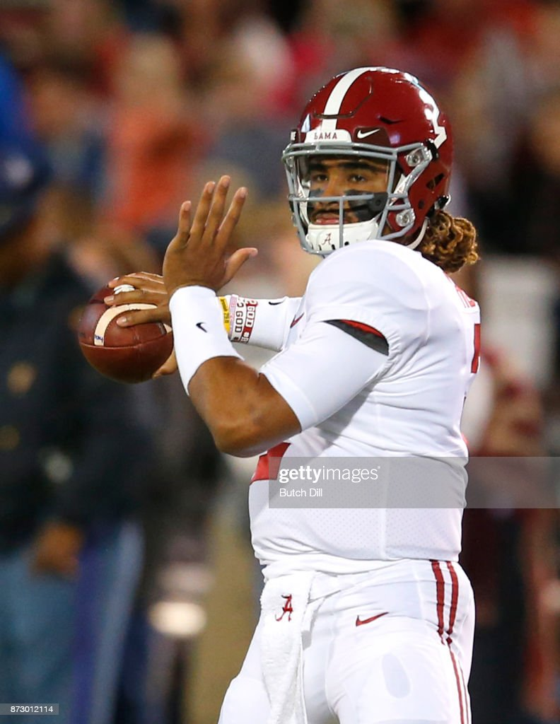 Jalen Hurts #2 of the Alabama Crimson Tide warms up before the first half of an NCAA football game against the Mississippi State Bulldogs at Davis Wade Stadium on November 11, 2017 in Starkville, Mississippi.