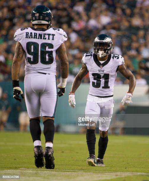 Jalen Mills and Derek Barnett of the Philadelphia Eagles play against the Buffalo Bills in the preseason game at Lincoln Financial Field on August 17...