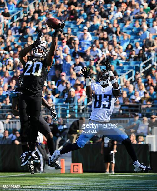 Jalen Ramsey of the Jacksonville Jaguars breaks up a pass intended for Harry Douglas of the Tennessee Titans during the first half of the game at...