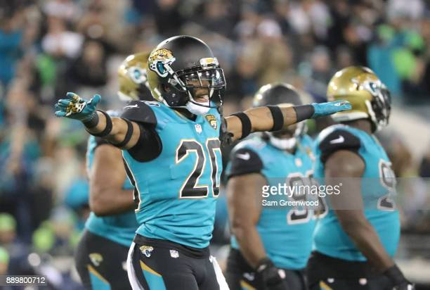 Jalen Ramsey of the Jacksonville Jaguars celebrates after an interception during the first half of their game against the Seattle Seahawks at...
