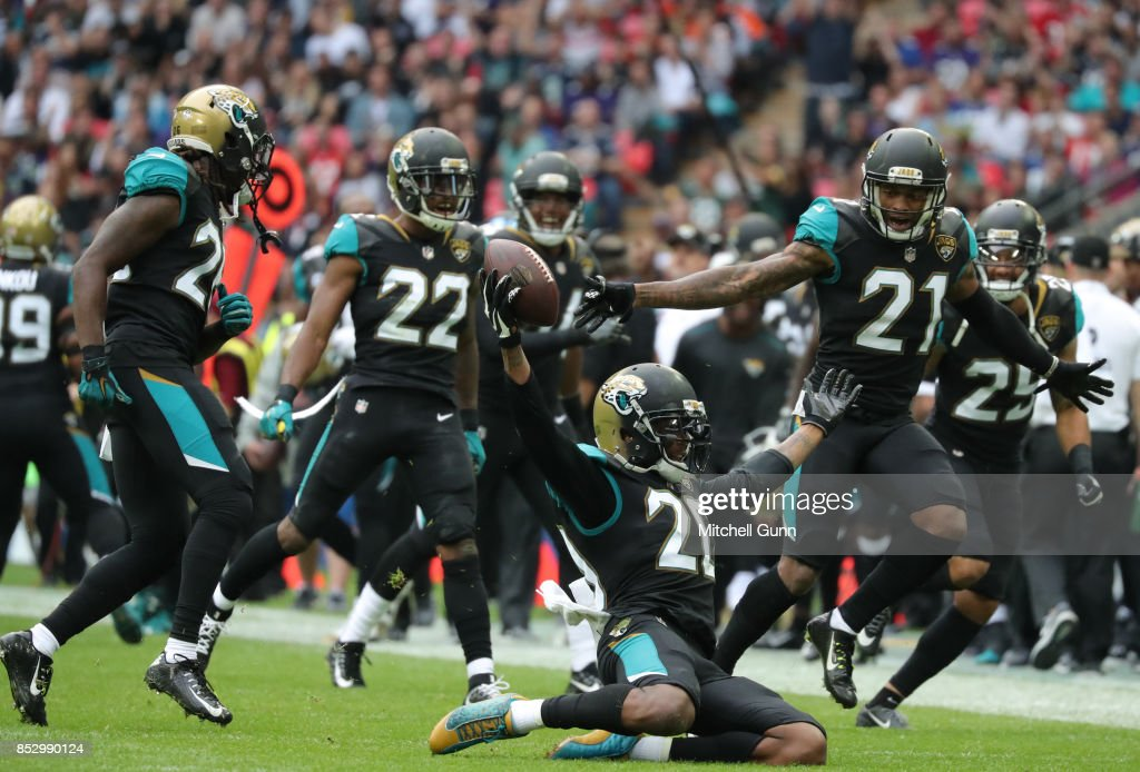 Jalen Ramsey of the Jacksonville Jaguars celebrates after making an interception during the NFL match between The Jacksonville Jaguars and The Baltimore Ravens at Wembley Stadium on September 24, 2017 in London, United Kingdom.