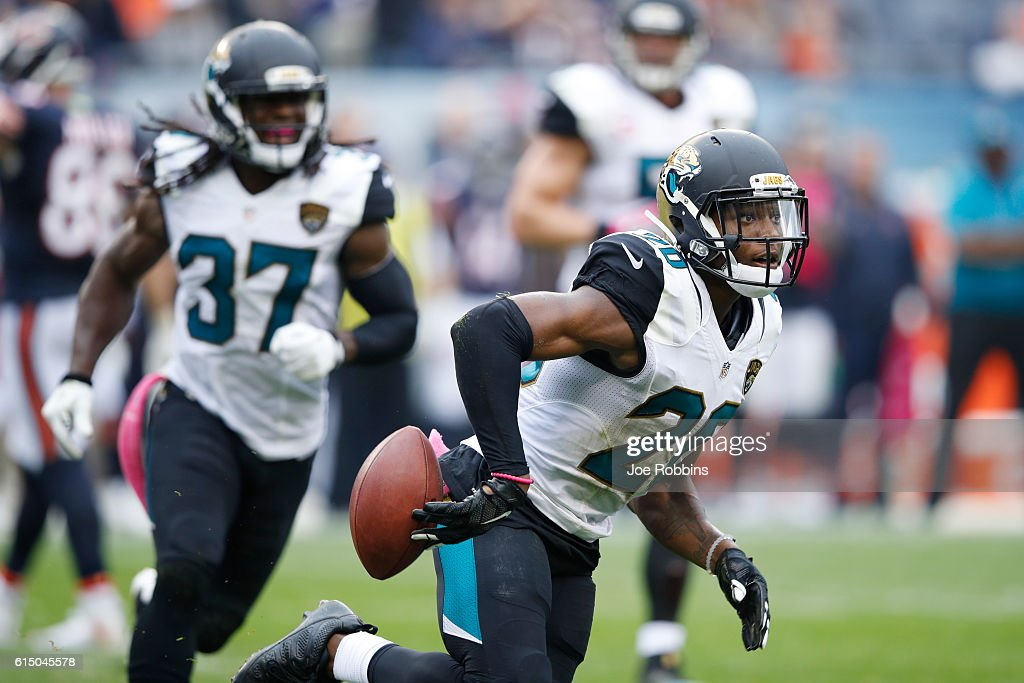 Jalen Ramsey #20 of the Jacksonville Jaguars reacts after breaking up a fourth down pass against the Chicago Bears in the fourth quarter of the game at Soldier Field on October 16, 2016 in Chicago, Illinois. The Jaguars defeated the Bears 17-16.