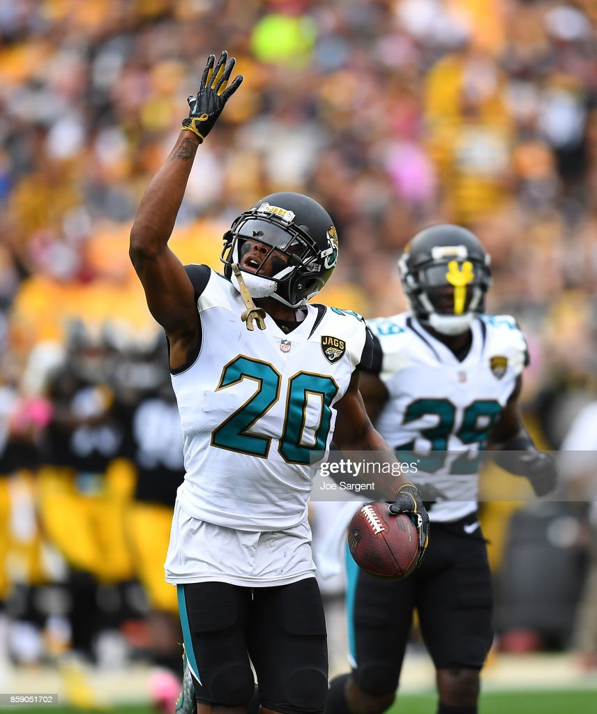 Jalen Ramsey #20 of the Jacksonville Jaguars reacts after intercepting a pass intended for Vance McDonald #89 of the Pittsburgh Steelers in the first quarter during the game at Heinz Field on October 8, 2017 in Pittsburgh, Pennsylvania.