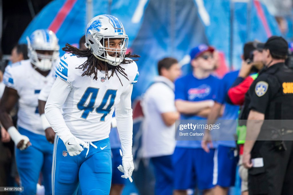 Jalen Reeves-Maybin #44 of the Detroit Lions runs onto the field before the preseason game against the Buffalo Bills on August 31, 2017 at New Era Field in Orchard Park, New York. Buffalo defeated Detroit 27-17.