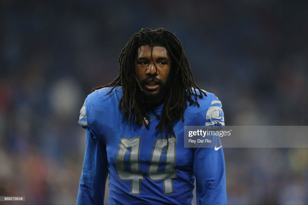 Jalen Reeves-Maybin #44 of the Detroit Lions walks to the locker room at halftime against the Atlanta Falcons at Ford Field on September 24, 2017 in Detroit, Michigan.