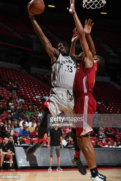 Jalen Reynolds of the Toronto Raptors goes to the basket against the Cleveland Cavaliers on July 14 2017 at the Thomas Mack Center in Las Vegas...