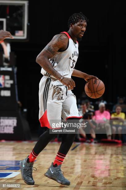 Jalen Reynolds of the Toronto Raptors handles the ball against the Cleveland Cavaliers on July 14 2017 at the Thomas Mack Center in Las Vegas Nevada...