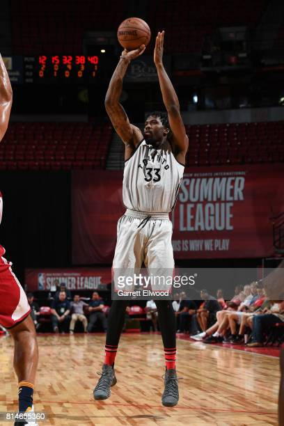 Jalen Reynolds of the Toronto Raptors shoots the ball against the Cleveland Cavaliers on July 14 2017 at the Thomas Mack Center in Las Vegas Nevada...