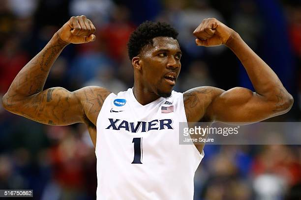 Jalen Reynolds of the Xavier Musketeers reacts late in the second half against the Wisconsin Badgers during the second round of the 2016 NCAA Men's...