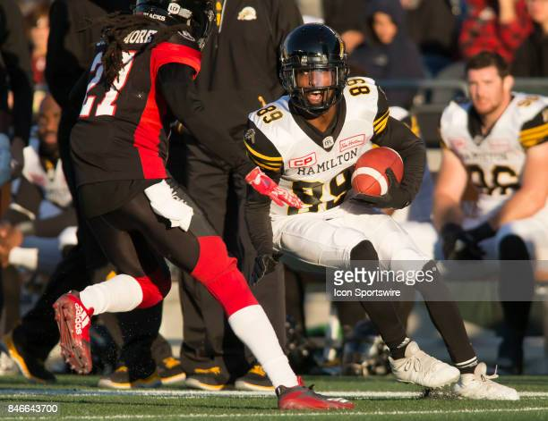Jalen Saunders of the Hamilton TigerCats in Canadian Football League Action at TD Place Stadium in Ottawa Canada on Saturday September 9 2017 The...