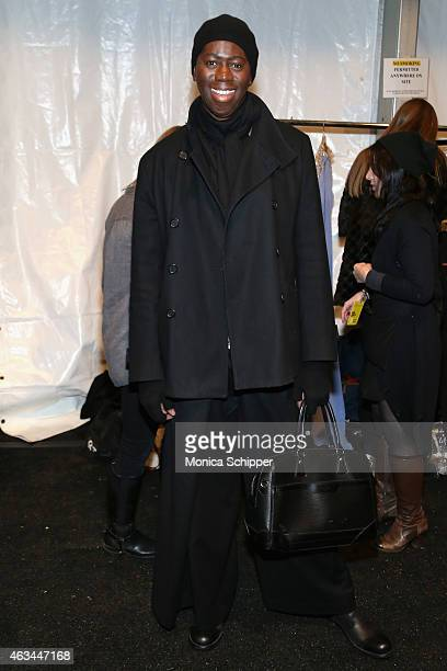 Alexander poses backstage at the Idan Cohen fashion show during MercedesBenz Fashion Week Fall 2015 at The Pavilion at Lincoln Center on February 14...