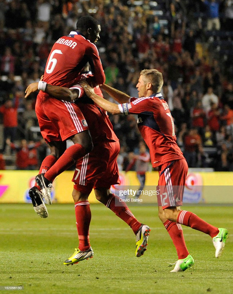 Jalil Anibaba #6 of Chicago Fire celebrates his goal with his teammates in an MLS match against the Montreal Impact on September 15, 2012 at Toyota Park in Bridgeview, Illinois.