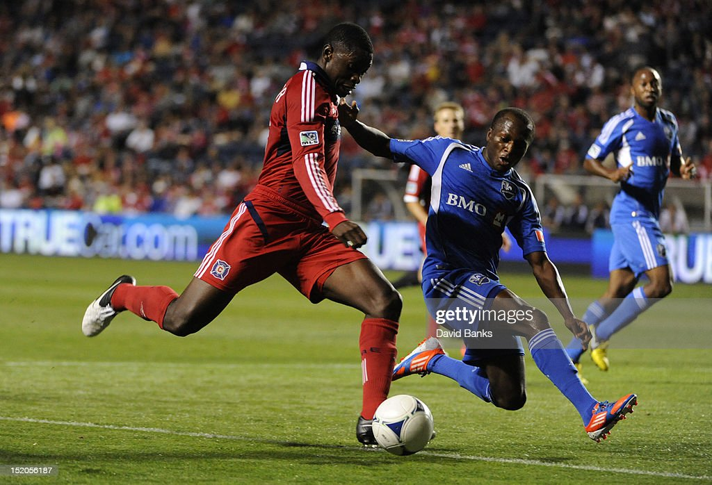 Jalil Anibaba #6 of Chicago Fire is defended by Sanna Nyassi #11 of Montreal Impact in an MLS match on September 15, 2012 at Toyota Park in Bridgeview, Illinois.