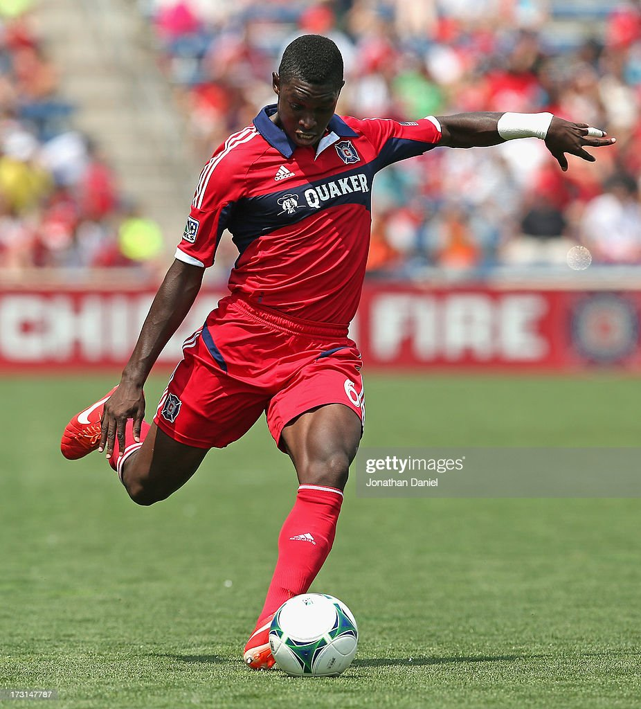 Jalil Anibaba #6 of the Chicago Fire shoots against Sporting Kansas City during an MLS match at Toyota Park on July 7, 2013 in Bridgeview, Illinois. Sporting Kansas City defeated the Fire 2-1.