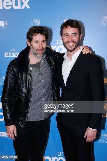 Jalil Lespert and his brother actor of the movie Yaniss Lespert attend the 'Un profil pour deux' Paris Premiere at Cinema UGC Normandie on March 27...