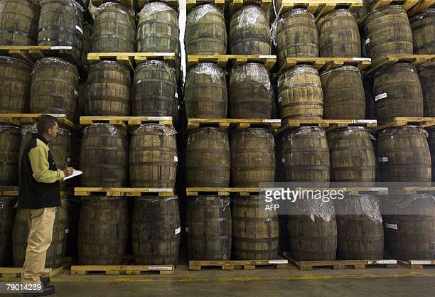 A 'Jalisco Colonial Distillery' employee reviews tequila barrels in Arandas Mexico 11 January 2008 In the last 15 years tequila ceased to be...