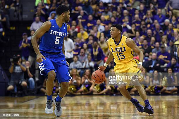 Jalyn Patterson of the LSU Tigers works against Andrew Harrison of the Kentucky Wildcats during a game at the Pete Maravich Assembly Center on...