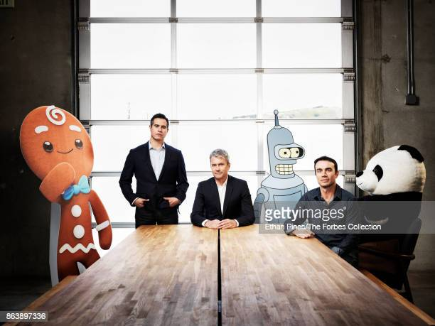 Jam City's cofounders and CEO Chris DeWolfe CTO Aber Whitcomb and president and COO Joshua Yguado are photographed for Forbes Magazine on May 17 2017...