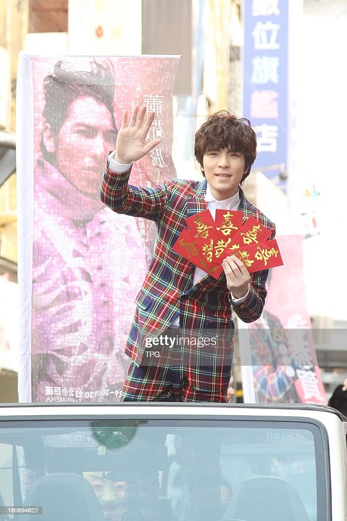 TAIWAN, CHINA - FEBRUARY 6(CHINA MAINLAND OUT) Jam Hsiao gave red packets to his fans and thanked their supports on Wednesday February 06, 2013 in Taipei, Taiwan, China.