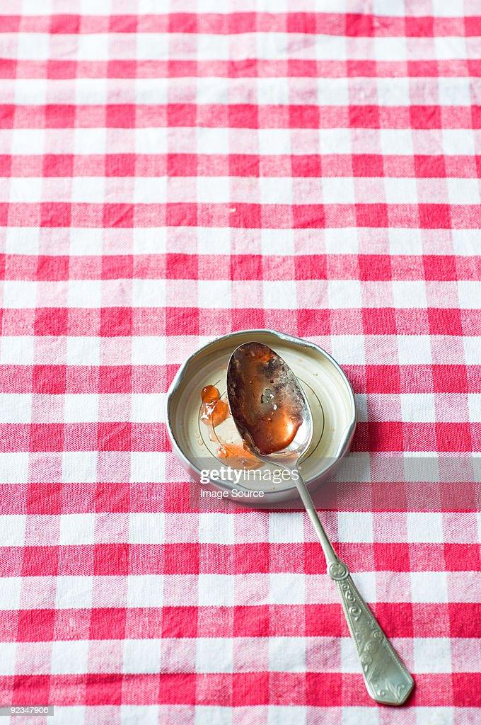 Jam on a spoon : Stock Photo