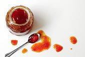 Homemade sea buckthorn berry jam in a jar.