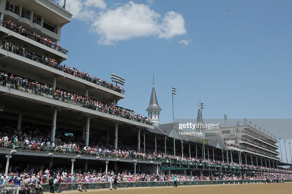A jam packed grandstand at Churchill Downs Race Track during Kentucky Oaks Day on May 6, 2016 in Louisville, Kentucky.