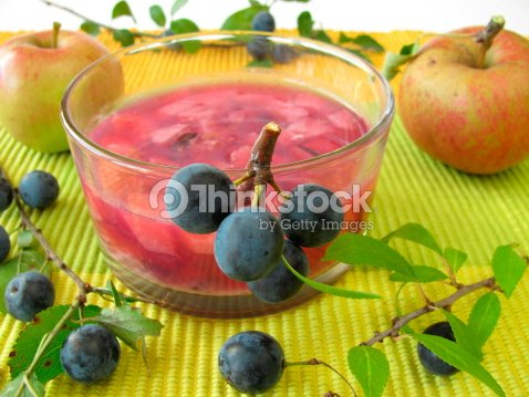Jam with sloe fruits and apples : Stock Photo