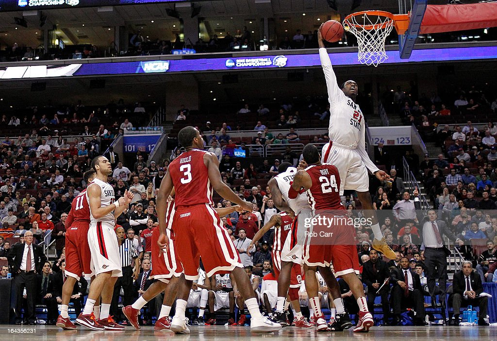 Jamaal Franklin #21 of the San Diego State Aztecs dunks in the second half against the Oklahoma Sooners during the second round of the 2013 NCAA Men's Basketball Tournament at Wells Fargo Center on March 22, 2013 in Philadelphia, Pennsylvania.