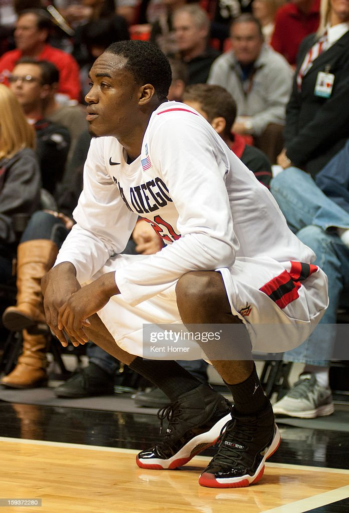 Jamaal Franklin #21 of the San Diego State Aztecs rests while waiting for play to resume in the second half of the game against the Colorado State Rams at Viejas Arena on January 12, 2013 in San Diego, California.