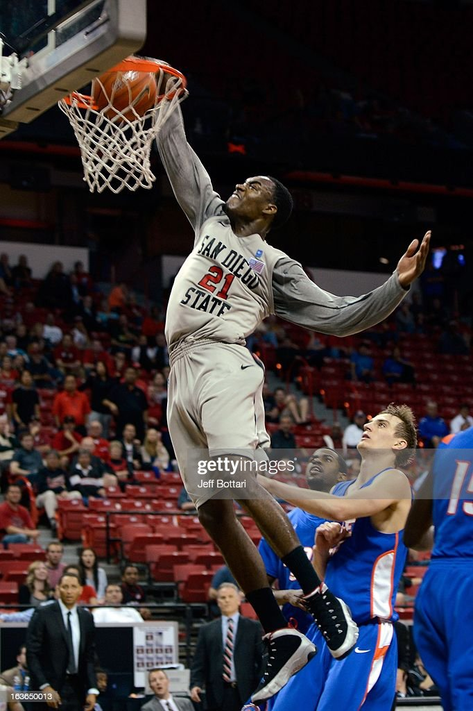 Jamaal Franklin #21 of the San Diego State Aztecs throws down a slam dunk against the Boise State Broncos during a quarterfinal game of the Reese's Mountain West Conference Basketball tournament at the Thomas & Mack Center on March 13, 2013 in Las Vegas, Nevada. SDSU won 73-67.