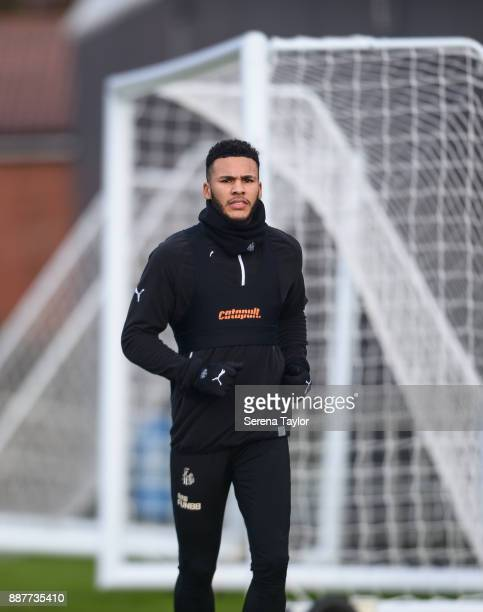 Jamaal Lascelles during a Newcastle United training session at the Newcastle United Training Centre on December 7 in Newcastle upon Tyne England