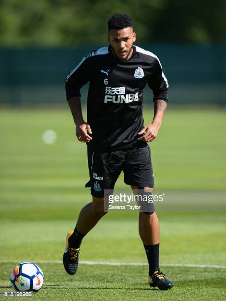 Jamaal Lascelles looks to pass the ball during the Newcastle United Training session at Carton House on July 18 in Maynooth Ireland