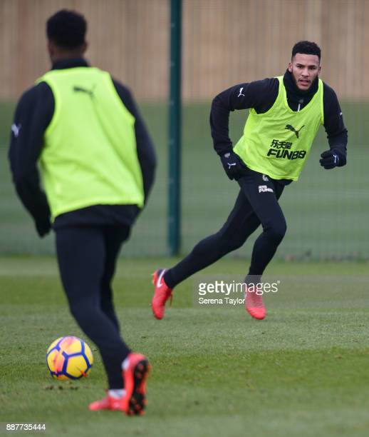 Jamaal Lascelles makes a break for the ball during a Newcastle United training session at the Newcastle United Training Centre on December 7 in...