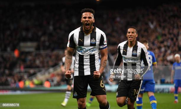 Jamaal Lascelles of Newcastle celebrates after scoring the first goal during the Sky Bet Championship match between Newcastle United and Leeds United...